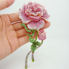 Fashionable Jewelry Rose Bud Gold-Plate Pink Rhinestone Crystal Brooch Pin