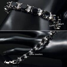 Oferta del viernes Negro Pulsera De Plata Cristal De Diamante Negro Nupcial Navidad Regalo Para Ella