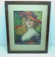 "Vintage Framed EH Kiefer ""Gladys"" Art Lady Woman Red Hat 1905 Chas Williams NY"