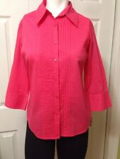 NWT Talbots Petites Cotton Size P Coral 3/4 Sleeve Button Top Blouse Pleated