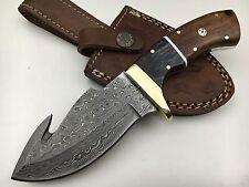 """Ash nw11w damascus steel custom handmade guthook skinner knife 8"""""""