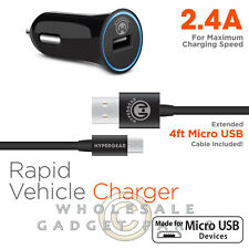 Naztech HyperGear HyperGear 2.4A Rapid Vehicle Charger W/MFI 4' Micro USB Cable
