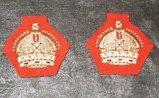 WWII Style British Majors Crowns, Cloth, Kings Crown, Infantry Scarlet, pair