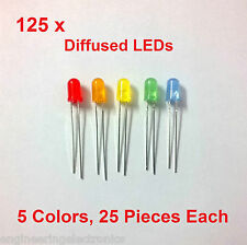 125 X  Assorted Diffused LED Pack, 5 Colour, 25 Each, ( 5mm ) ...