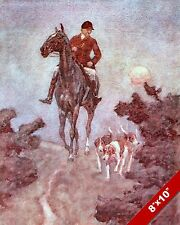 HUNTER'S MOON FOX HUNT HORSE FOXHUNTING HUNTING ART PAINTING REAL CANVAS PRINT