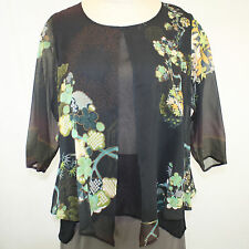 NEW NWT Citron Clothing Plus Size Bamboo Floral 100% Silk Layered Fly Blouse 1X