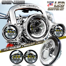 "7"" Chrome LED Projector Daymaker Headlight + Passing Lights For Harley Davidson"