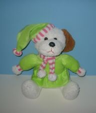 "Sitting 12"" Pastel Pink Outfit Christmas Puppy Dog Girl Elf Santa Helper Plush"