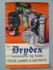 Original 1935 DRYDEX by Exide Advertising Poster Cycle Lamps & Batteries