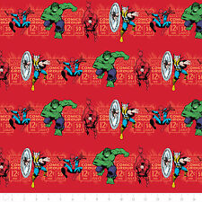Camelot Marvel Comics Price & Hero Stripe in Red 100% cotton Fabric by the yard