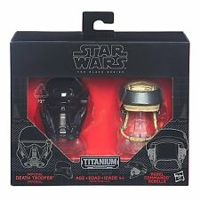 Star Wars Black Series Titanium DEATH TROOPER + REBEL COMMANDO Diecast Helmets