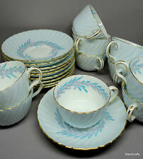 Minton Teacup & Saucer x 5 Symphony Blue Bone China UK Laurel Wreath S557 Unused