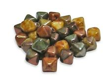 6mm Opaque Gemtone Luster Picasso Czech Glass Bicone Beads (30) #5601