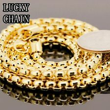 "STAINLESS STEEL GOLD ROUND BOX CHAIN NECKLACE(36""x 5mm)82g/C51"