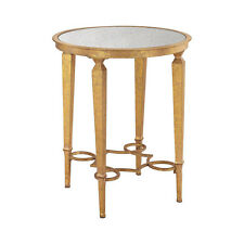New French Gold Leaf Side End Table Antique Mirrored Glass Round Iron Accent