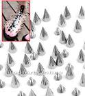 100pcs 14mm Silver Cone Spikes Screwback Studs Leather Craft DIY Goth Punk Spot