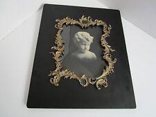 """Antique VICTORIAN 1800's Black wood ornate silver gesso Picture Cherub 17""""x14"""""""
