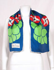"'PIERRE CARDIN' 60'S FRENCH VINTAGE LONG PRINT SILK SCARF 43""X10"""