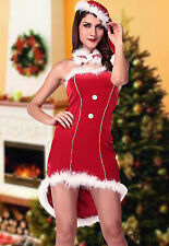 Sexy Women's Red Christmas Tuxedo Fancy Dress Costume Santa's Helper