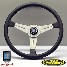 Nardi ND Classic 390mm Black Leather Steering Wheel Grey Stitching 6061.39.1001