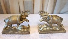 Vintage Heavy Ornate Cast Iron Elephant Stomping Trunk up Book Ends