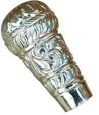 Silver Plated Pattern Embossed Walking Stick Handle