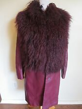 Longchamp Burgundy Sheep Skin Leather Runway Long W/Fur Jacket Size Small $2399