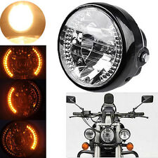 "UNIVERSAL FIT 7"" H4 Motorcycle Sportbike Headlight LED Turn Signal Amber Light"