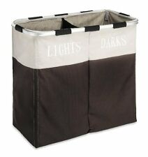 Double Laundry Hamper Washing Basket Clothes Storage Bin Foldable Sorter Bag