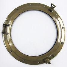 """Aluminum Antique Brass Finish 20"""" Ship's Porthole Window Round Nautical Decor"""