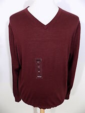 NEW IZOD $70 Mens L/S V-Neck Sweater Sz XL X-Large Wool Burgundy Long Sleeve NWT