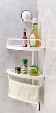 NEW White 2 Tier Corner Shelf Shower Caddy  Bathroom Rack Organiser Suction Cups