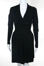 CHANEL Black Long Sleeve V Neck 2 Pocket Ribbed Empire Waist Sweater Dress Sz 36