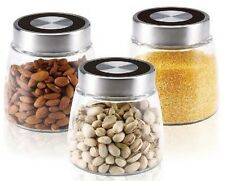 Renberg RB-4423 3 Piece Glass Canister Set Tea Coffee Sugar Spice Storage Jar