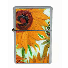 Vincent Van Gogh Sunflowers Windproof Refillable Oil Lighter with Gift Box D 7