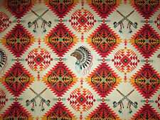 Native American Indian Headdress Peace Pipe Terracotta Gld Teal Cotton Fabric FQ