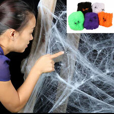 Spider Web With Spiders Halloween Decoration Stretchy Cobweb Funny Scary Party