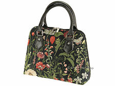 Signare Tapestry Handbag Shoulder Convertible Bag In Morning Garden Black Design