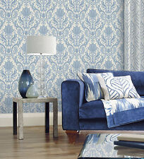 "12""/31cm Wallpaper SAMPLE Gorgeous Blue and White Paisley"