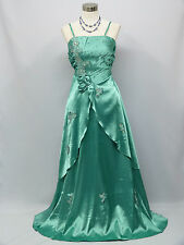 Cherlone Green Long Ballgown Wedding Evening Bridesmaid Formal Dress Size 12-14