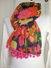 """NEW"" TRANSAT BOUTIQUE CHECHE ECHARPE FOULARD ""BLA BLA"" POMPONS COLORE"