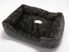 REX LEATHER & FUR WASHABLE PET DOG PUPPY CAT BED CUSHION SOFT BASKET GREY LARGE