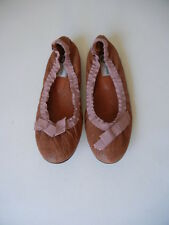 Lanvin (Sz.39) Brown Crinkly-Leather w/ Rosy-Ribbon Scrunch Ballet Flats Shoes