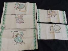 5 VINTAGE LINEN TEA TOWELS *DAY OF THE WEEK* DOW* MINT UNUSED*sunbonnet sue