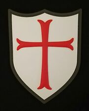 3D PVC CROSS CRUSADER SHIELD COMBAT ARMY FULL COLOR VELCRO® BRAND FASTENER PATCH