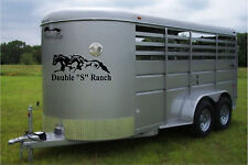 Your Custom Name & Running Horses Horse Trailer Truck Decal Stickers 16x36