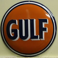 GULF OIL button dome heavy embossed metal sign gasoline gas service 2100031