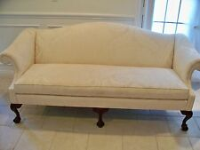 Vintage Sherrill Queen Anne Loveseat Sofa Settee Shell Carved Legs
