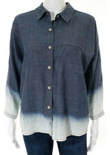 NWT 7 FOR ALL MANKIND Dark Blue Long Sleeve Button Down Collared Blouse Sz S