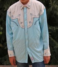 Retro Blue Embroidered Quality Panhandle Slim Westmoor Western Shirt Mens XL